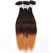 Ombre Cabello Brasileño Recto 6 Meses 3 Piezas los tejidos de pelo