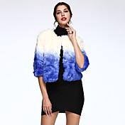 女性 カジュアル/普段着 冬 カラーブロック ファーコート,シンプル ブルー フェイクファー 七部袖 厚手