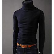 Masculino Camiseta Esportes Para Noite Casual Simples Outono Inverno,Sólido Algodão Gola Alta Manga Longa Grossa
