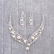 Šperky 1 x náhrdelník / 1 x pár náušnic imitace drahokamu / Imitace perly Svatební 1Nastavte Dámské Stříbrná Svatební dary