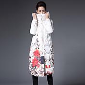 Abrigo Largo Mujer Sofisticado Casual/Diario / Tallas Grandes,Floral Poliéster Plumón de Pato Blanco Con Capucha Manga Larga,Blanco