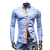Hombre Simple Casual/Diario / Formal / Trabajo Para Todas las Temporadas Camisa,Cuello Mao Un Color Manga Larga Algodón / PoliésterAzul /