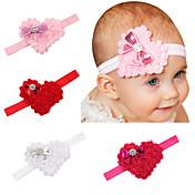 4本セット/かわいい赤ちゃんバレンタインハート型の弓の赤ちゃんの毛のヘッドバンド素敵な子供のヘアアクセサリー