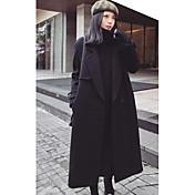 女性 カジュアル/普段着 冬 ソリッド コート,シンプル ブラック ポリエステル 長袖 ミディアム