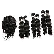 閉鎖が付いている毛横糸 インディアンヘア ウェーブ 12ヶ月 7個 ヘア織り