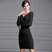 la falda nueva Europa y América del v-cuello de la cremallera tela del vestido delgado de la cadera del paquete de alta hilo elástico