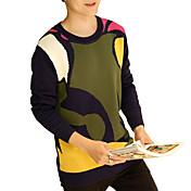 Muži Vintage Jednoduché Šik ven Běžné/Denní Velké velikosti Standardní Rolák Barevné bloky,Žlutá Dlouhý rukáv Kulatý Bavlna Jaro Podzim