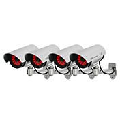 kingneo 4本ホワイト無線偽ダミードームCCTVセキュリティカメラはLEDライト