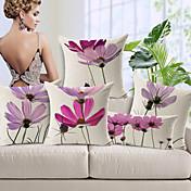 5 PC Algodón/Lino Cobertor de Cojín,Floral Moderno/Contemporáneo