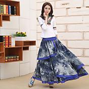 女性に署名' sの国家風の印刷コットンドレス刺繍牡丹の花大きなスカートスカート