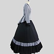 Accesorios Lolita Clásica y Tradicional Cosplay Vestido  de Lolita Escocés Manga Larga Hasta el Tobillo Top Falda por Algodón