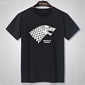 Hombre Simple Activo Casual/Diario Verano Camiseta,Escote Redondo Estampado Manga Corta Poliéster Blanco Negro Fino
