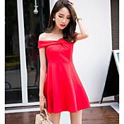De las mujeres Vaina Vestido Discoteca Bonito,Un Color Escote Barco Sobre la rodilla Manga Corta Rojo Algodón Verano