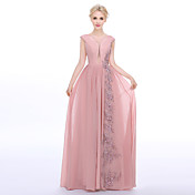 シース/コラムジュエルネックフロアの長さシフォンcharmeuseビーズアップリケ付きフォーマルイブニングドレス