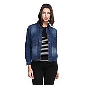 女性 カジュアル/普段着 プラスサイズ ソリッド デニムジャケット,活発的 ブルー その他 長袖