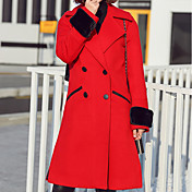 Mujer Simple Casual/Diario Un Color Abrigo Manga Larga Poliéster Rojo Grueso