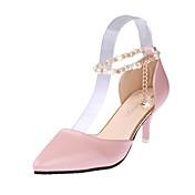 Ženske Cipele na petu Udobne cipele PU Proljeće Kauzalni Hodanje Udobne cipele Lanac Stiletto potpetica Obala Crn Pink 5 cm - 7 cm