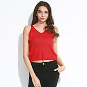 Mujer Corto Chaleco Casual/Diario Chic de Calle,Un Color Rosa Rojo Blanco Beige Negro Gris Verde Naranja Amarillo Morado Con TirantesSin