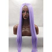 Mujer Pelucas sintéticas Encaje Frontal Largo Liso Morado Entradas Naturales Raya en medio Peluca natural Peluca de Halloween Peluca de