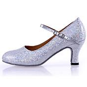 Dansesko(Sølv Guld) -Kan tilpasses-Personligt tilpassede hæle-Damer-Latin