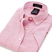 男性用 ストライプ カジュアル / オフィス / フォーマル / スポーツ シャツ,半袖 コットン / ポリエステル ピンク