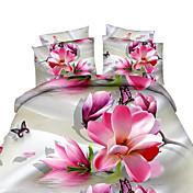 Sets Funda Nórdica Floral 4 Piezas Estampado reactivo 4 Unidades (1 Cobertor de Edredón, 1 Sábana, 2 Fundas de Almohadas)