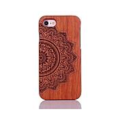 Para Antigolpes En Relieve Diseños Funda Cubierta Trasera Funda Mandala Dura Madera para AppleiPhone 7 Plus iPhone 7 iPhone 6s Plus/6