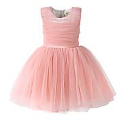 Vestido Chica deUn Color-Algodón-Todas las Temporadas-Rosa / Rojo