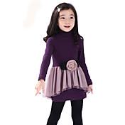 Vestido Chica deUn Color-Mezcla de Algodón-Invierno-Negro / Morado