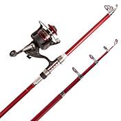 スピニングロッド テレスピンロッド 磯釣りロッド 釣り竿 釣り竿 + リール スピニングロッド FRP 炭素鋼 210 M 海釣り 川釣り 一般的な釣り 釣り竿 + リール レッド-bearfire