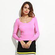 Mujer Regular Pullover Casual/Diario Simple,Un Color Rosa Rojo Blanco Escote Redondo Manga Larga Algodón Otoño Medio Elástico
