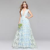 Corte en A Escote Hasta el Suelo Encaje Tul Vestido de novia con Encaje por LAN TING BRIDE®