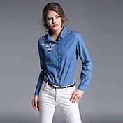 女性 カジュアル/普段着 ワーク 春 シャツ,シンプル シャツカラー プリント ブルー コットン 長袖 薄手