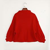 Mujer Regular Pullover Casual/Diario Simple,Un Color Rojo Blanco Negro Marrón Gris Escote Chino Manga Larga Poliéster Otoño Invierno Medio