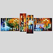 Pintada a mano Abstracto Pinturas al óleo + Láminas,Modern Clásico Cuatro Paneles Lienzos Pintura al óleo pintada a colgar For Decoración