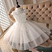 Princesa longitud de la rodilla vestido de niña de flores - encaje sin mangas de cuello alto con rebordear