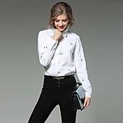 女性 カジュアル/普段着 ワーク 夏 シャツ,シンプル シャツカラー プリント ホワイト コットン 長袖 薄手