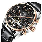 KINYUED Hombre Reloj de Vestir Reloj Esqueleto Reloj de Pulsera El reloj mecánico Calendario Cronógrafo Resistente al AguaCuerda