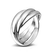 Anéis Casamento Festa Ocasião Especial Diário Casual Jóias Liga Anéis Meio Dedo Anéis Grossos Anel 1peça,6 7 8 9 Prateado