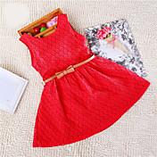 Vestido Chica deJacquard-Mezcla de Algodón-Verano-Rosa / Morado / Rojo
