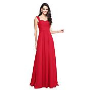 Corte en A Hasta el Suelo Raso Vestido de Dama de Honor con En Cruz Fruncido por LAN TING BRIDE®