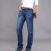 Rovné Džíny Muži Kalhoty-Jednobarevné Běžné/Denní Jednoduchý Mid Rise Zip Bavlna Není elastické Pružina