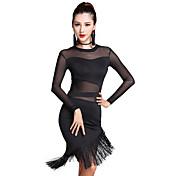 Dança Latina Vestidos Mulheres Actuação Tule Fibra de Leite 2 Peças Manga Comprida Alto Vestido Calções