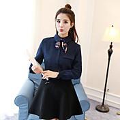 firmar 2016 otoño e invierno nueva manera del cordón arco de Corea del color de la camisa de pana sólido camisa de manga larga de tocar