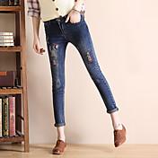 firmarán 2017 versión coreana de los pantalones vaqueros del estiramiento pantalones femeninos pantalones ajustados pantalones flacos del