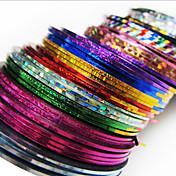 24PCS MIXS色ストライプテープラインネイルストライプテープネイルアートデコレーションステッカー