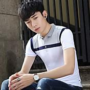 新しい春と夏の2017男性' sの半袖Tシャツの襟ポロシャツスリムティーンは、色のTシャツを打ちます