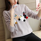 2017年韓国の女性の冬のセーターのコートのセーターのジャケットかわいいウサギの装飾に半分の高襟緩い女性を取ります