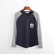 女性 お出かけ 春 / 秋 Tシャツ,ストリートファッション ラウンドネック ソリッド ブルー / ホワイト / ブラック / グレイ コットン 長袖 薄手