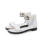 Mujer-Tacón Plano Media plataforma-Zapatos del club-Sandalias-Vestido Informal-PU-Negro Blanco